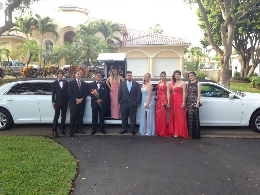GianLuca Aguiar, Louis Dorta, Nick Chevallier, Caroline Williams, Alexandre Moraes, Morgan Geltzer, Lilia Pretto and Sandra Figuroa and Abigail Hason (see left to right) stand in front of their limo before going off to the event.