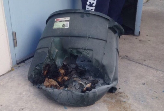The remains of the trash can that caused the evacuation of students (photo courtesy of Christopher Gomez).