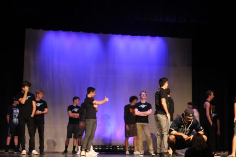 The Mr. Panther contestants prepare their first dance of the show at rehearsals