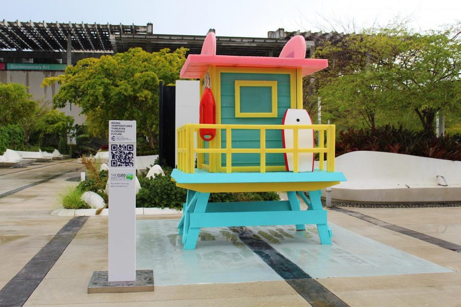 A wax replica of a lifeguard tower located at the FROST Museum set to melt over 4-5 days, representing the effects climate change will have to Florida.