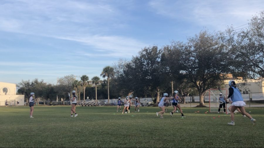 The Palmetto Girl's Lacrosse team practicing before the season commences.