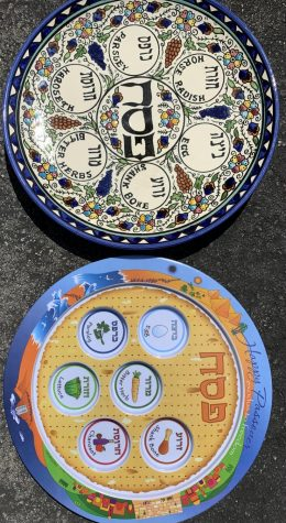 Traditional Cedar plates used on Passover. The bottom plate includes images of the 6 foods featured in Passover tradition and celebration.