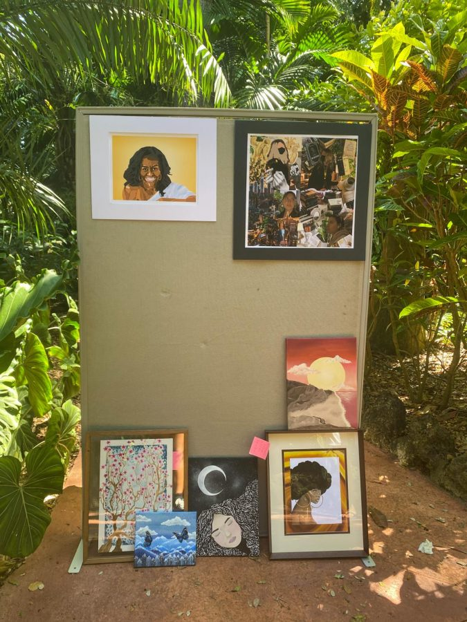 Artworks were scattered throughout the park along the path.