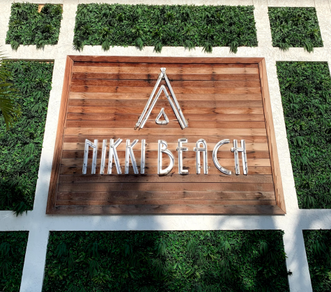 The iconic and well-known Nikki Beach sign.