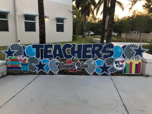 These signs were left in the front of the school for all teachers to see once they walked onto campus for teacher appreciation week. Photo courtesy of Linda Dwyer.