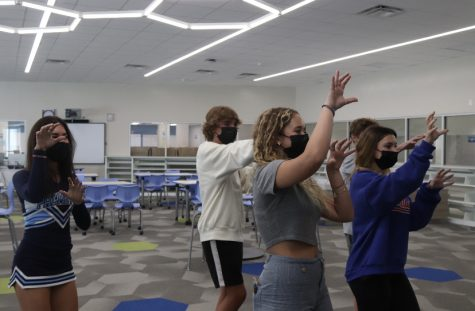 Sophmores Marly Young (front left), Stella Sharpe(front right), Travis Gettinger(back right), Ruben Behar(back center) and Mia Tamayo(back left) practicing dance routine for panther prowl.