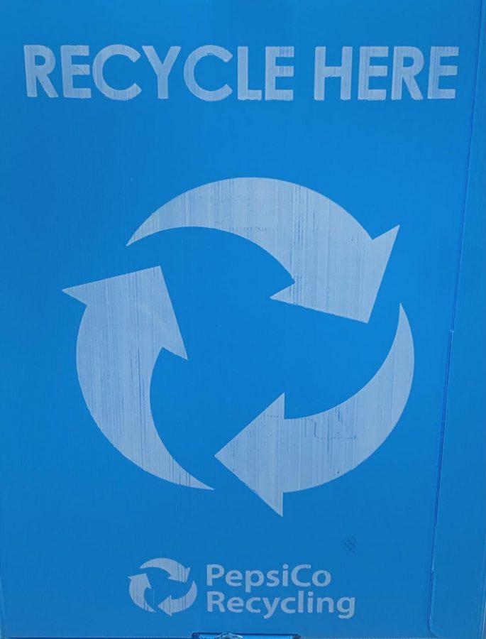 Recycling bin used at Miami Palmetto Senior High School classroom.
